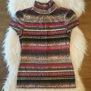 Trina Turk Silk Mock Neck Stripe Top Small